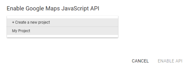 Enable Google Map JavaScript API Create a New Project