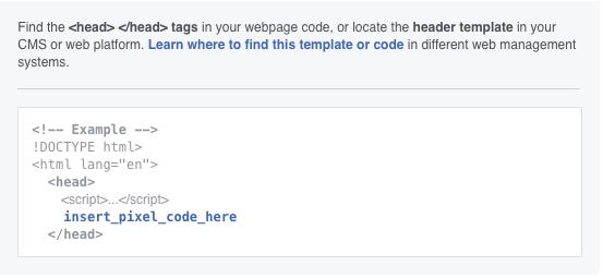 Add Facebook Pixel to Header tag