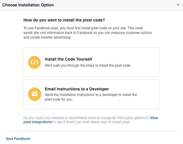 Facebook Pixel Choose Installation Option