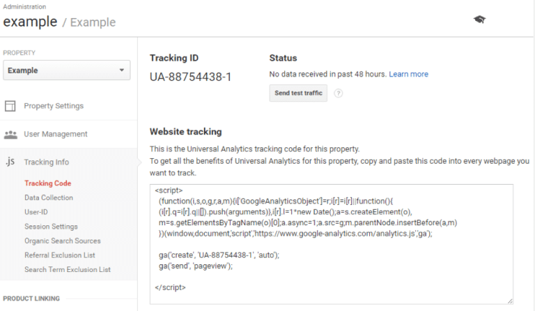 google analytics ecommerce tracking code