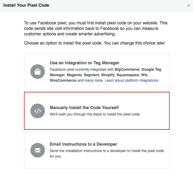 Facebook Pixel - Manually Install the Code Yourself