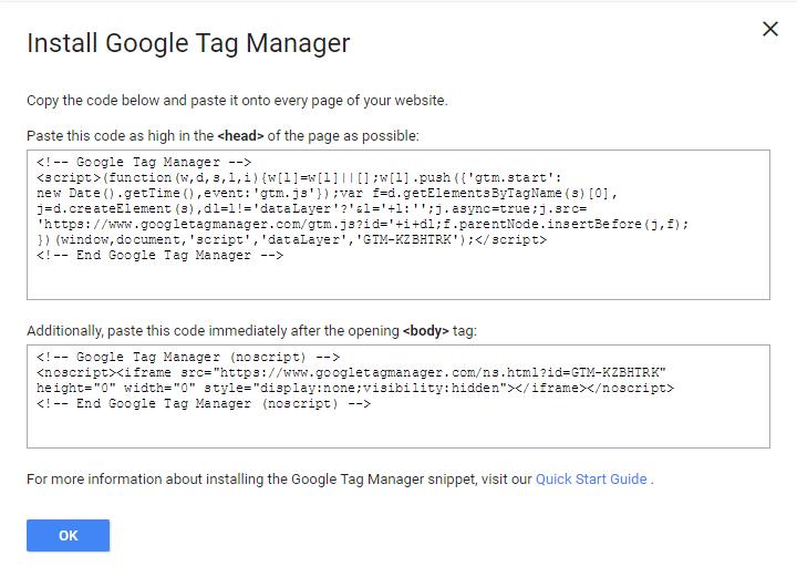 o kodikas egatastasis tou google tag manager