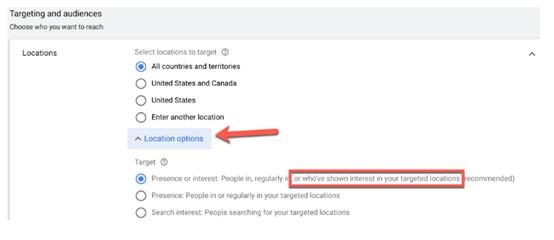 Φωτογραφεία από το περιβάλλον των google ads για τη ρύθμιση της γεωγραφικής στόχευσης