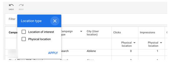Φωτογραφεία  με την καρτέλα Reports των google ads που συμπεριλαμβάνει  τη στήλη που επιλέγεις τα Location type